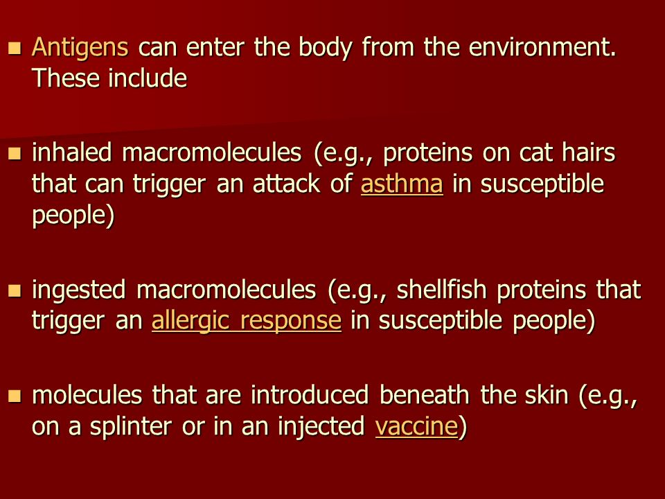 Antigens can enter the body from the environment. These include