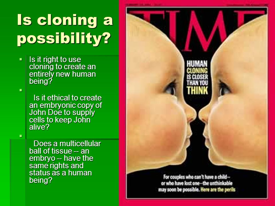 Is cloning a possibility