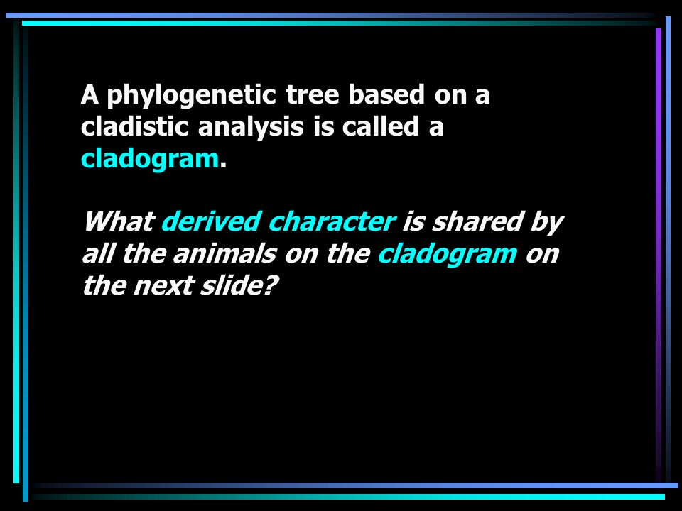 A phylogenetic tree based on a cladistic analysis is called a cladogram.