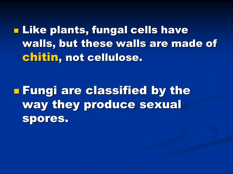 Fungi are classified by the way they produce sexual spores.