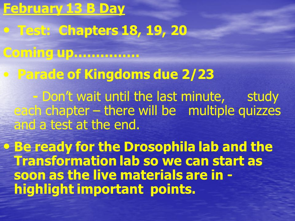 February 13 B Day Test: Chapters 18, 19, 20 Coming up……………