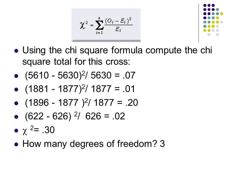 Using the chi square formula compute the chi square total for this cross: