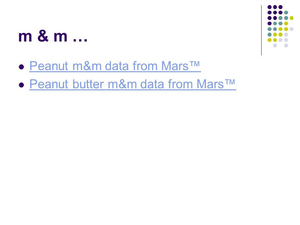 m & m … Peanut m&m data from Mars™ Peanut butter m&m data from Mars™