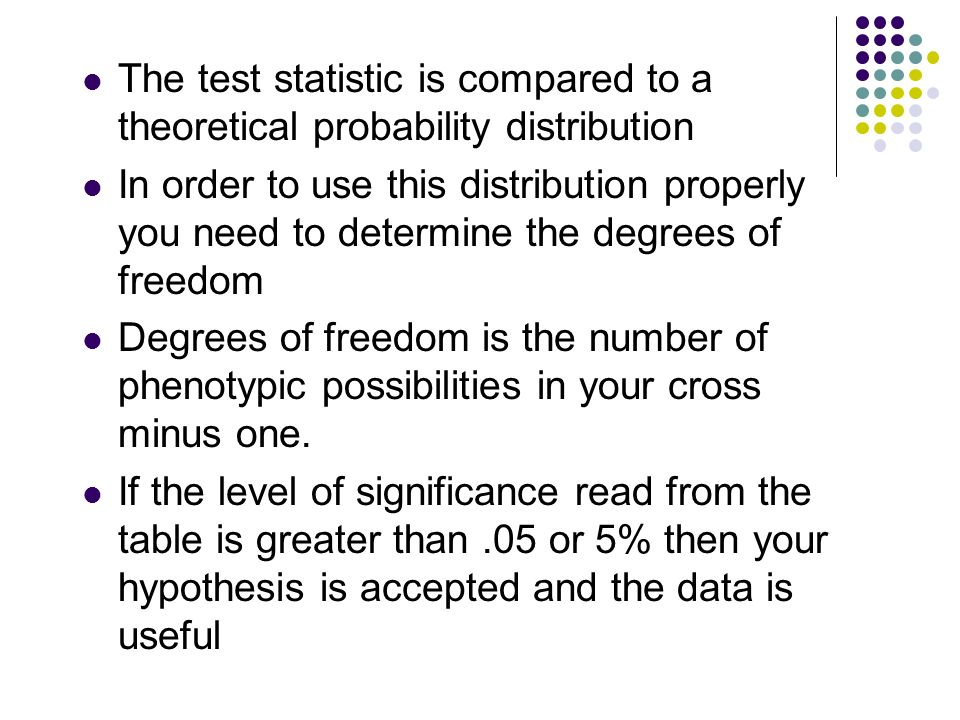The test statistic is compared to a theoretical probability distribution