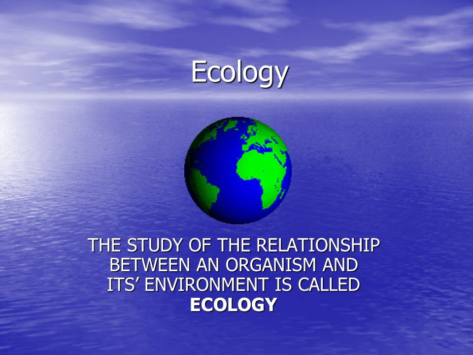 Ecology THE STUDY OF THE RELATIONSHIP BETWEEN AN ORGANISM AND ITS' ENVIRONMENT IS CALLED ECOLOGY