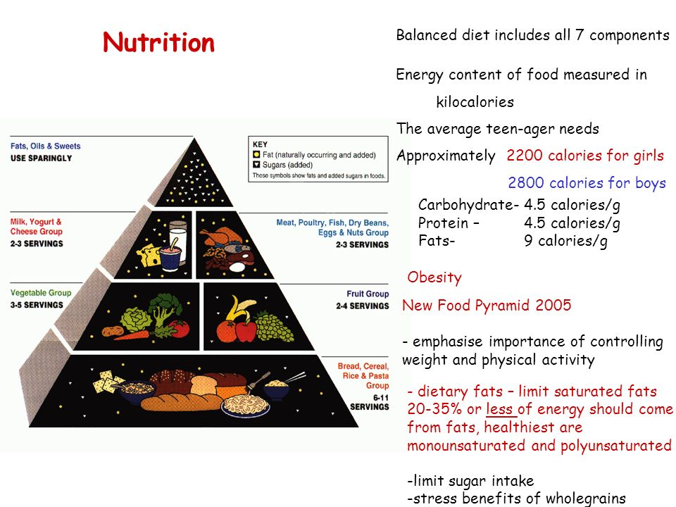 Nutrition Balanced diet includes all 7 components
