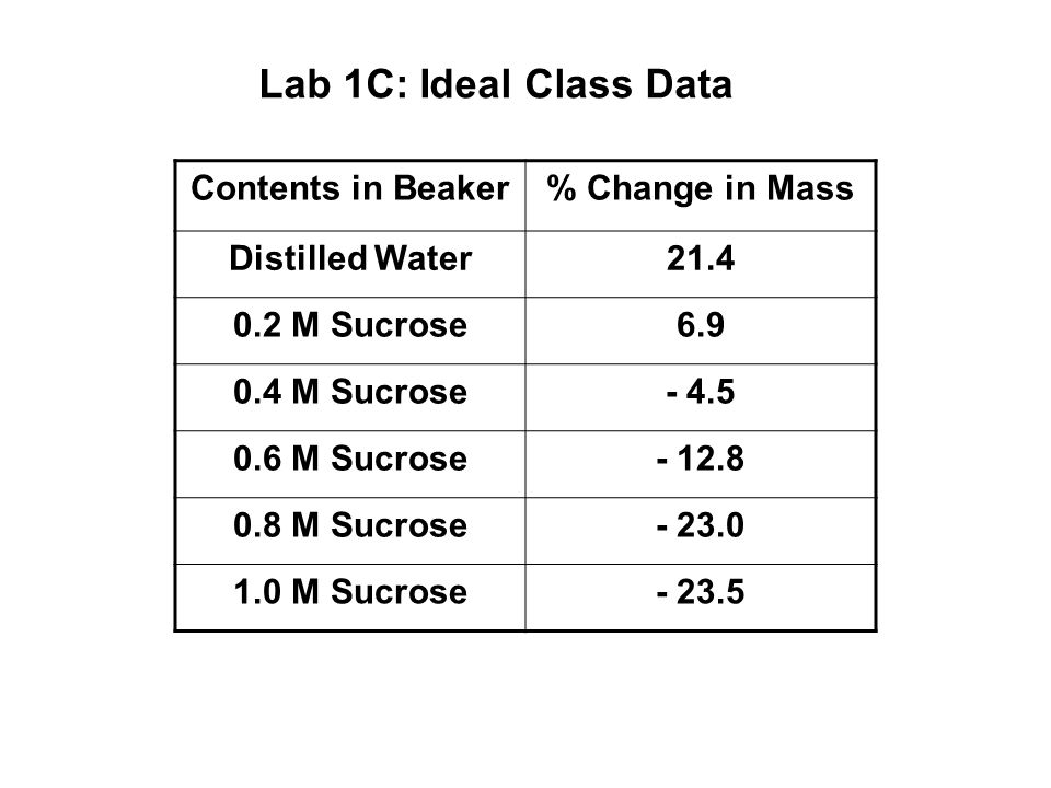 Lab 1C: Ideal Class Data Contents in Beaker % Change in Mass