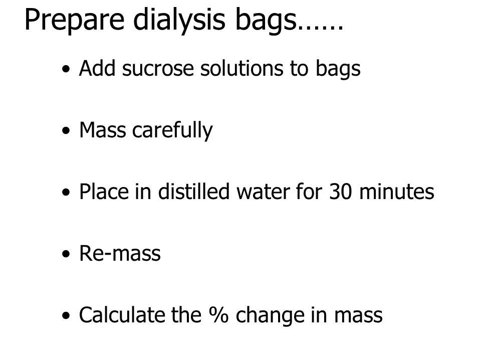 Prepare dialysis bags……