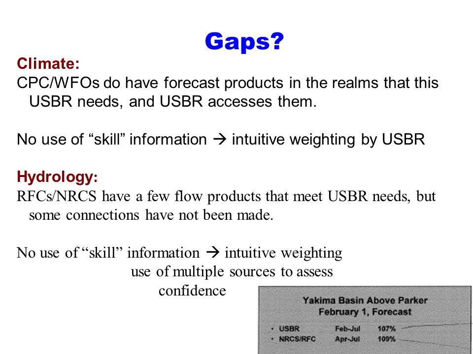 Gaps Climate: CPC/WFOs do have forecast products in the realms that this USBR needs, and USBR accesses them.
