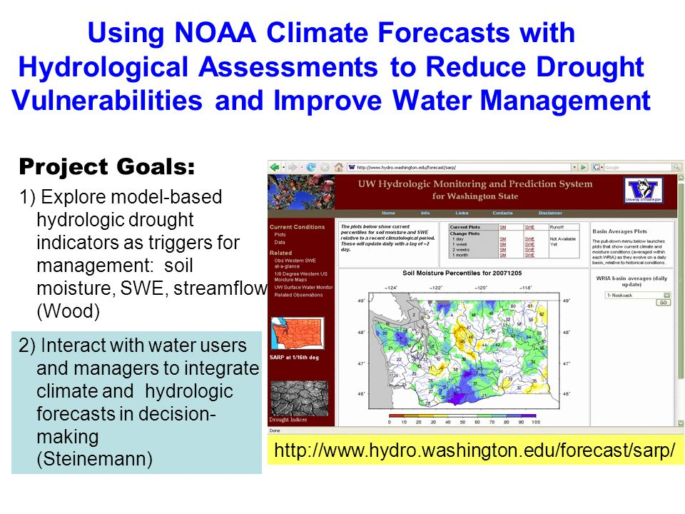 Using NOAA Climate Forecasts with Hydrological Assessments to Reduce Drought Vulnerabilities and Improve Water Management