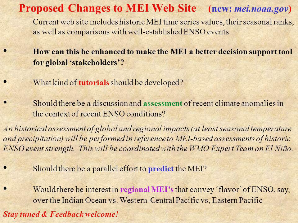 Proposed Changes to MEI Web Site (new: mei.noaa.gov)