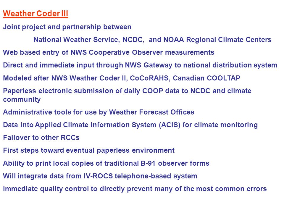 Weather Coder III Joint project and partnership between