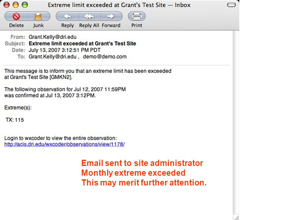 Email sent to site administrator