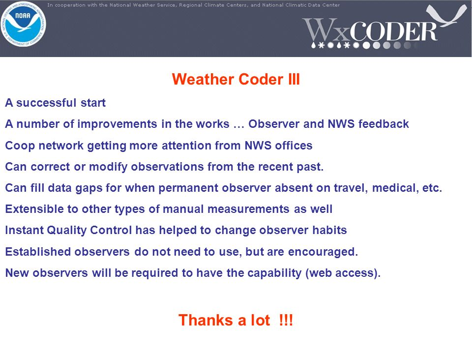 Weather Coder III Thanks a lot !!!