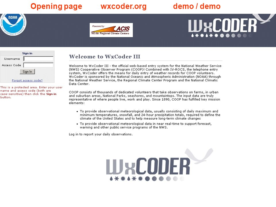 Opening page wxcoder.org demo / demo