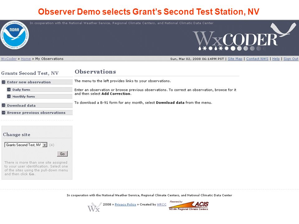 Observer Demo selects Grant's Second Test Station, NV