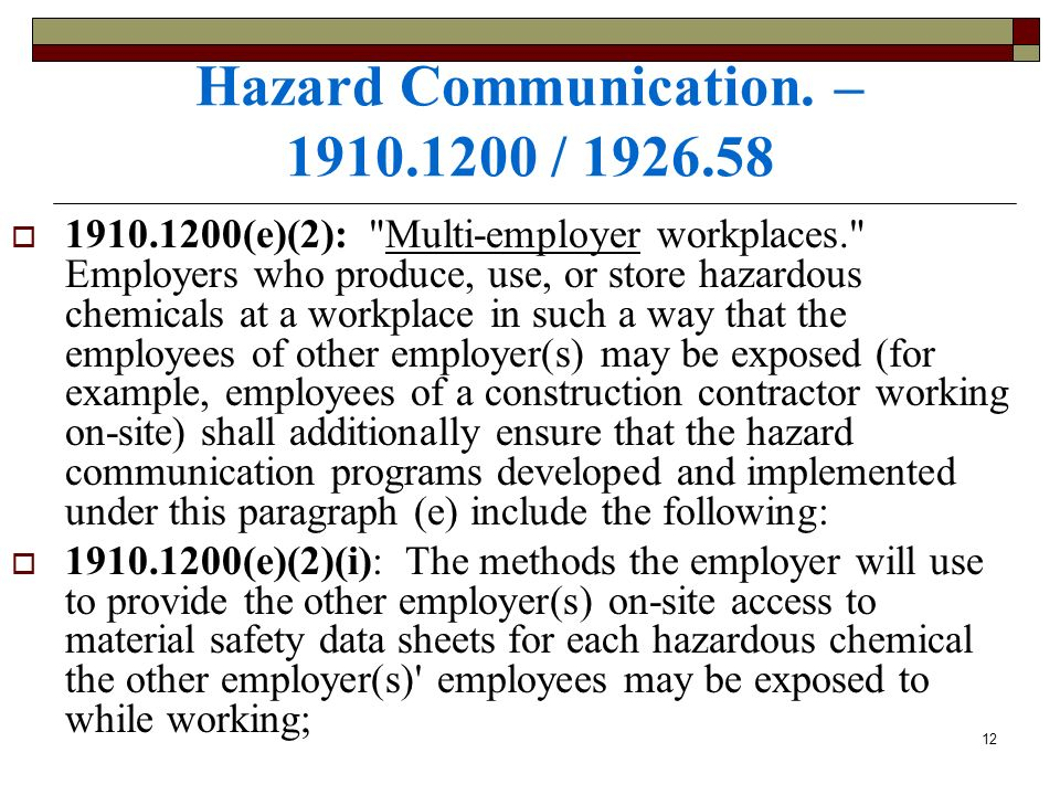 Hazard Communication. – /