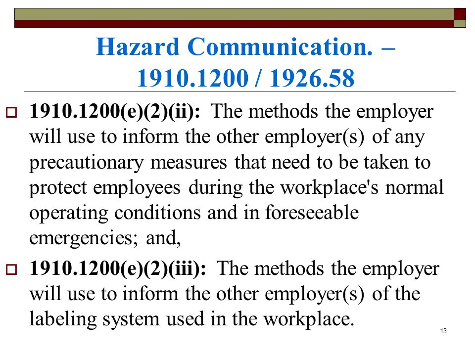 Hazard Communication. – 1910.1200 / 1926.58