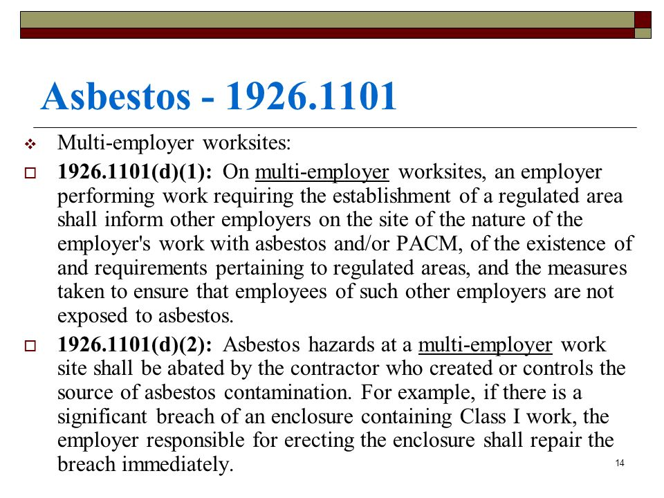 Asbestos - 1926.1101 Multi-employer worksites:
