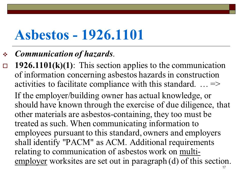 Asbestos Communication of hazards.