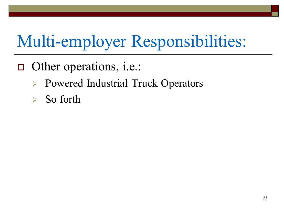 Multi-employer Responsibilities: