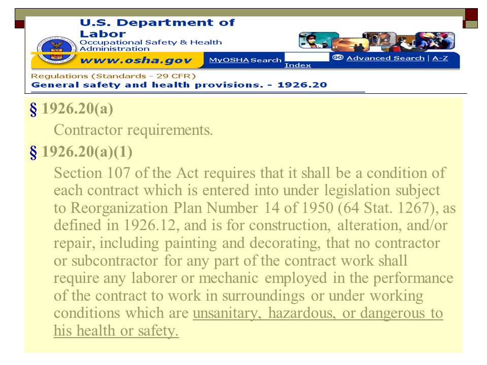§ 1926.20(a) Contractor requirements. § 1926.20(a)(1)