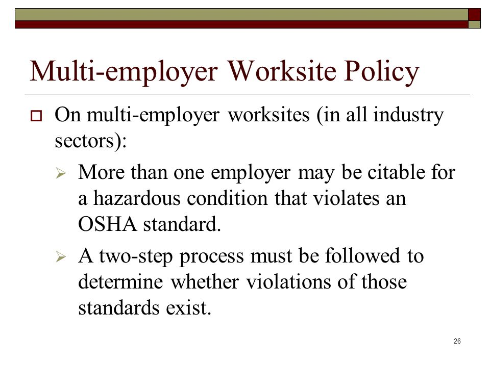 Multi-employer Worksite Policy