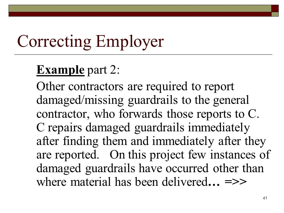 Correcting Employer Example part 2: