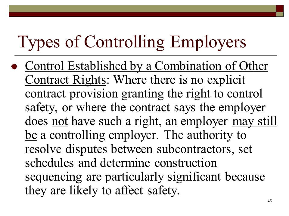 Types of Controlling Employers