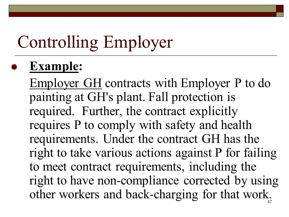 Controlling Employer Example: