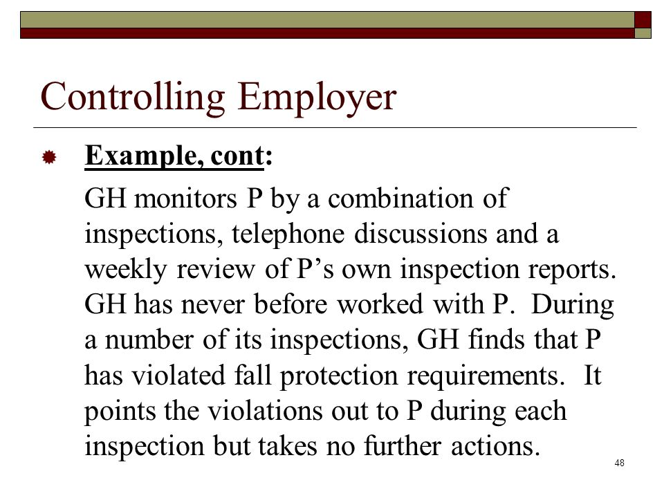 Controlling Employer Example, cont: