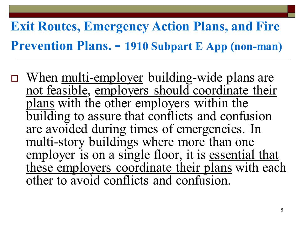 Exit Routes, Emergency Action Plans, and Fire Prevention Plans