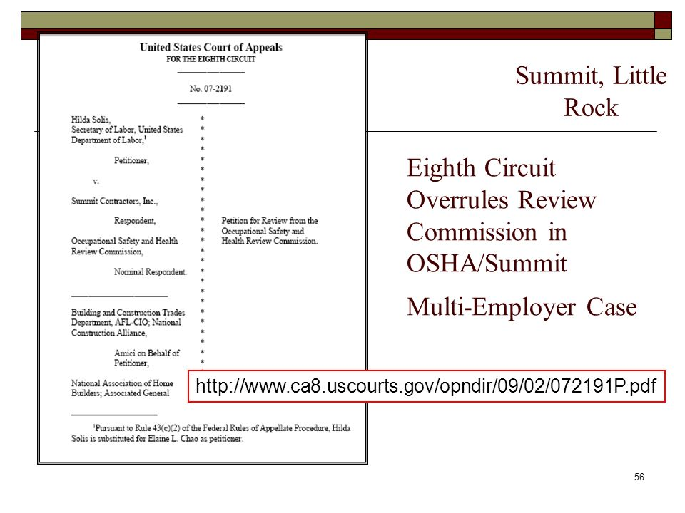 Summit, Little RockEighth Circuit Overrules Review Commission in OSHA/Summit Multi-Employer Case.