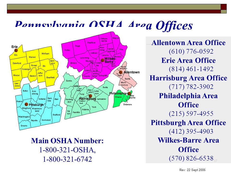 Pennsylvania OSHA Area Offices
