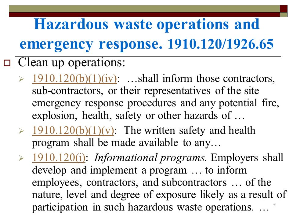 Hazardous waste operations and emergency response. 1910.120/1926.65