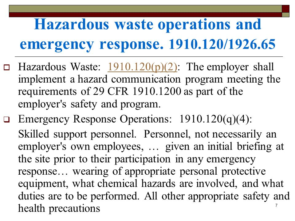 Hazardous waste operations and emergency response /