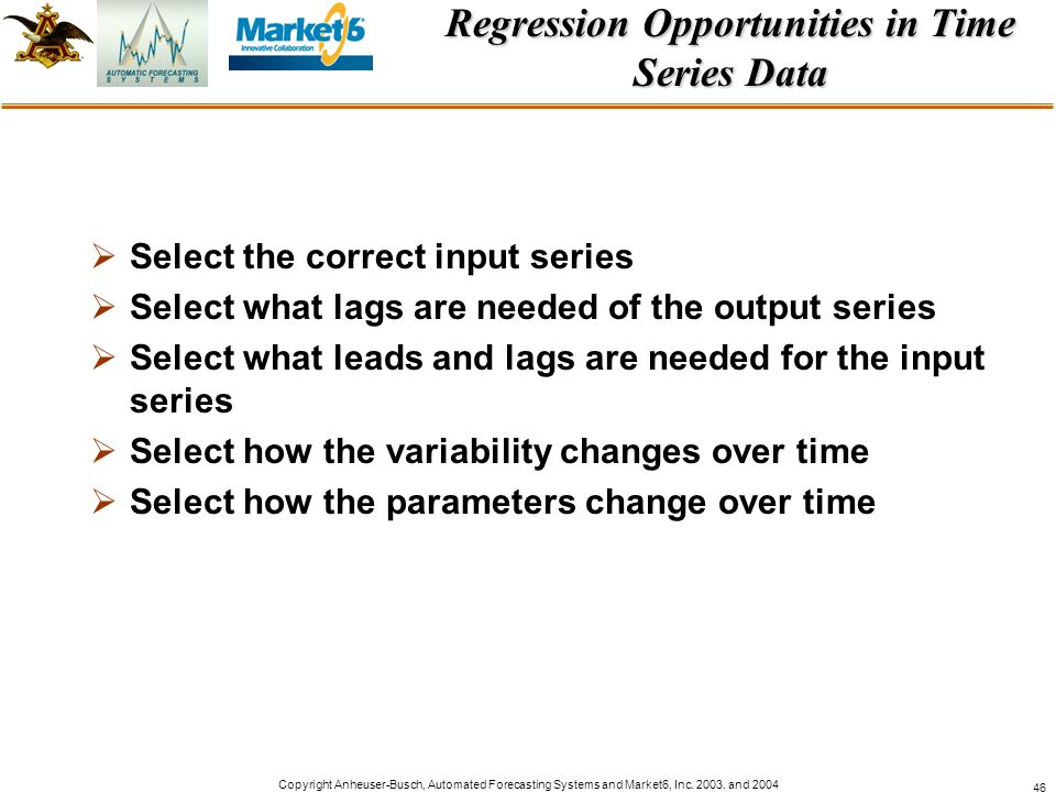 Regression Opportunities in Time Series Data