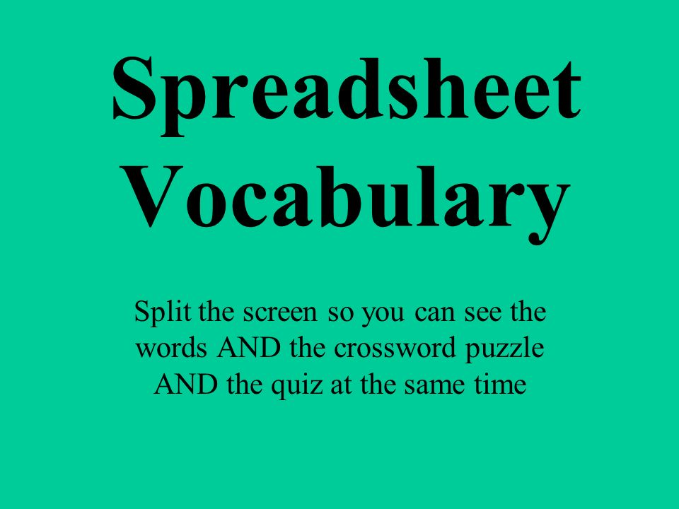 Spreadsheet Vocabulary