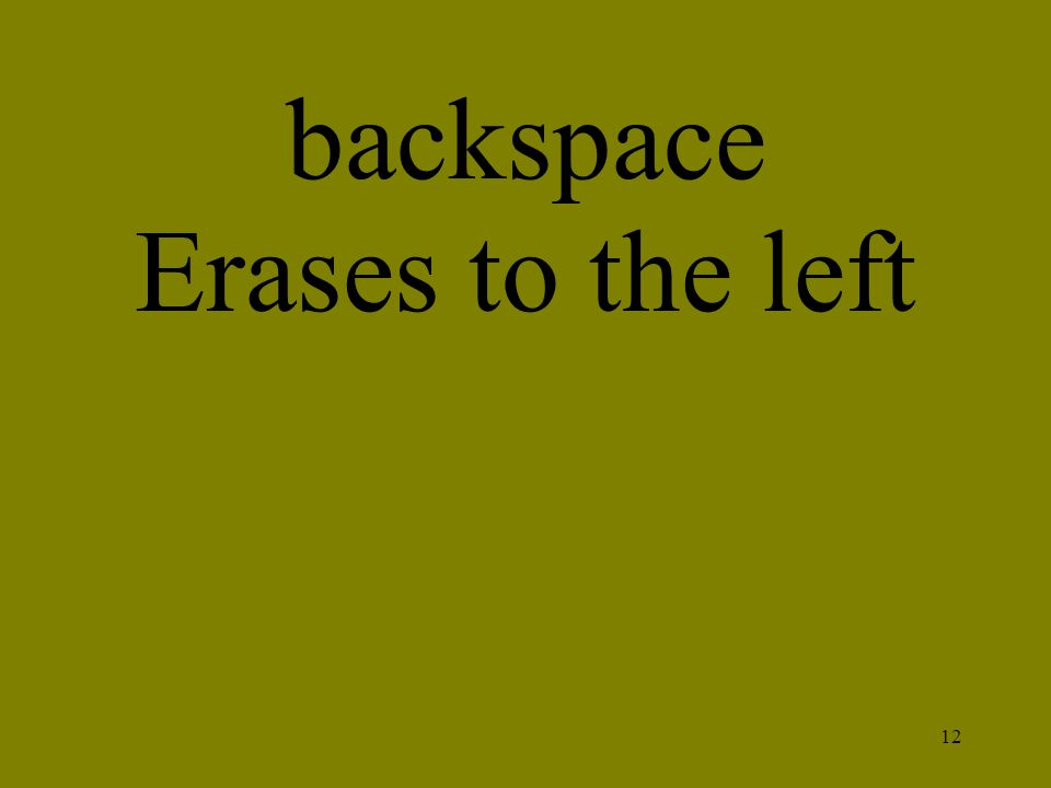 backspace Erases to the left