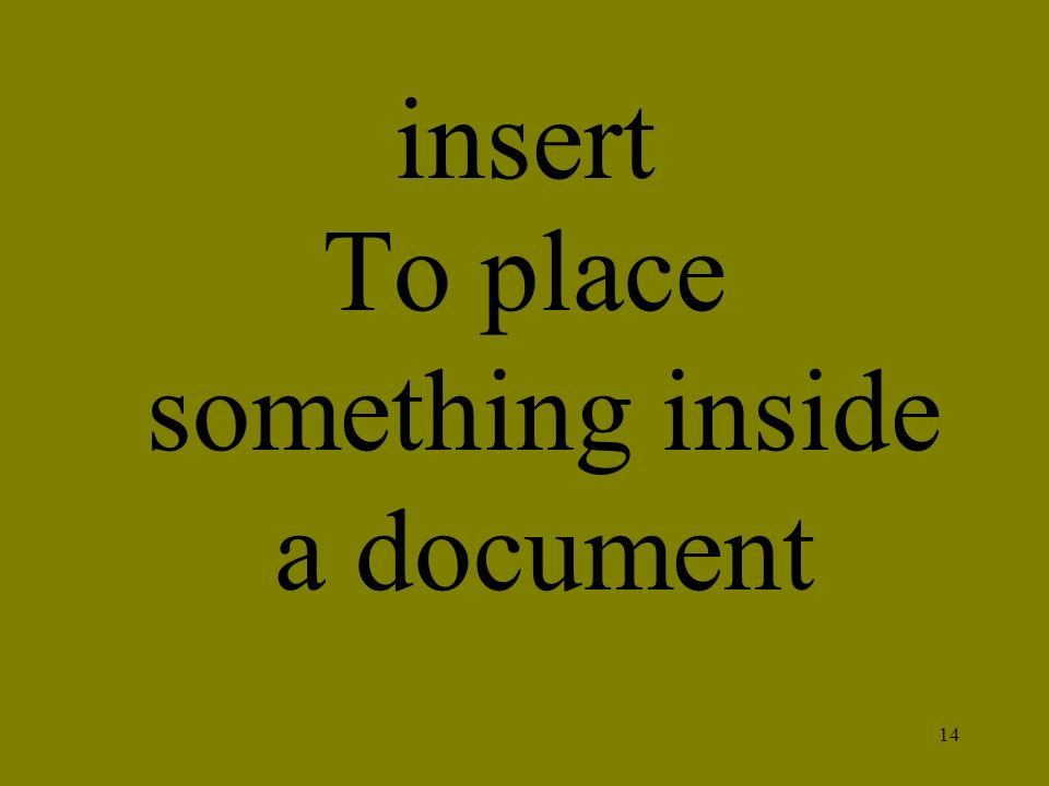 To place something inside a document