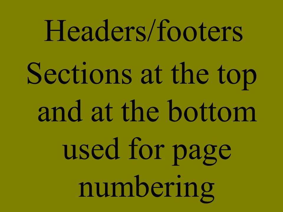 Sections at the top and at the bottom used for page numbering