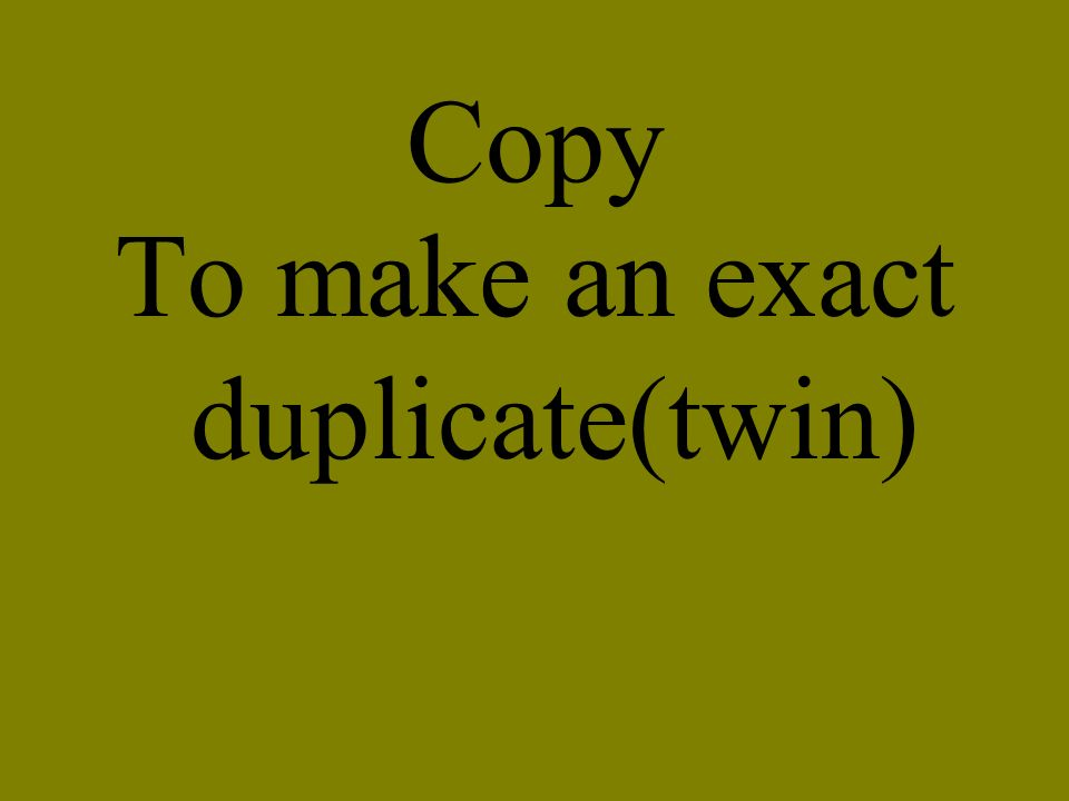 To make an exact duplicate(twin)