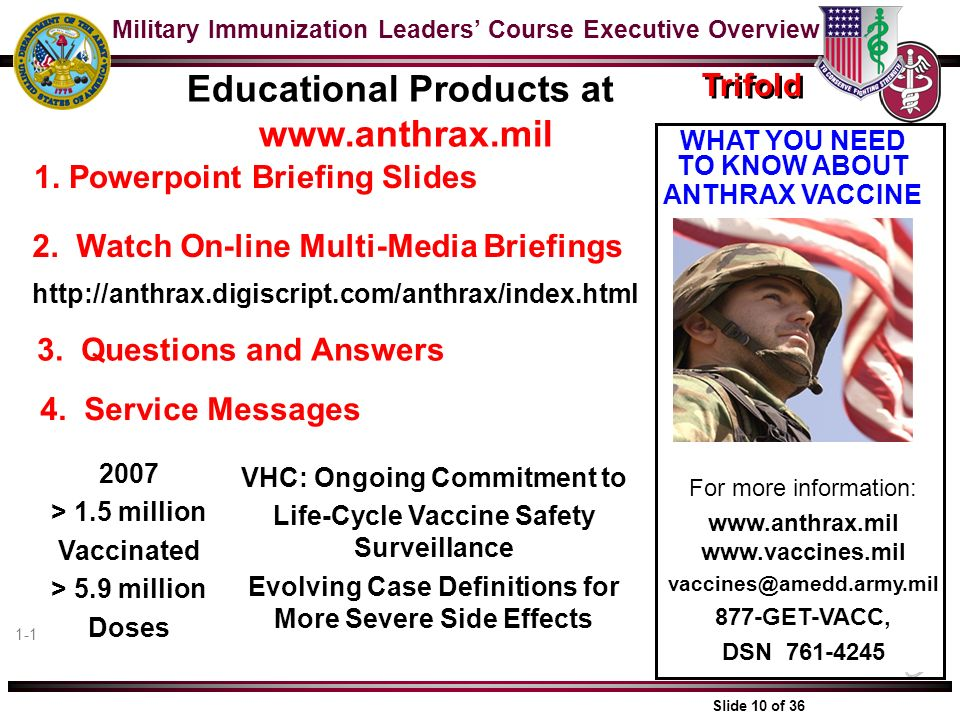 Educational Products at www.anthrax.mil
