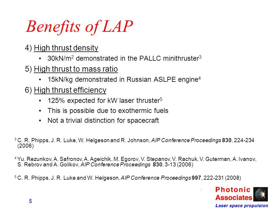 Benefits of LAP 4) High thrust density 5) High thrust to mass ratio