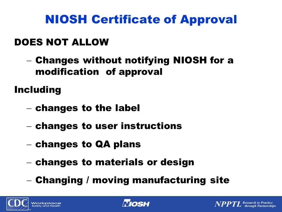 NIOSH Certificate of Approval