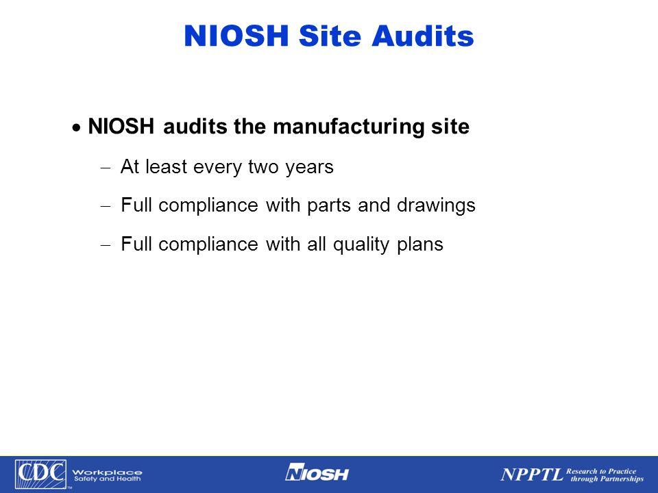 NIOSH Site Audits NIOSH audits the manufacturing site