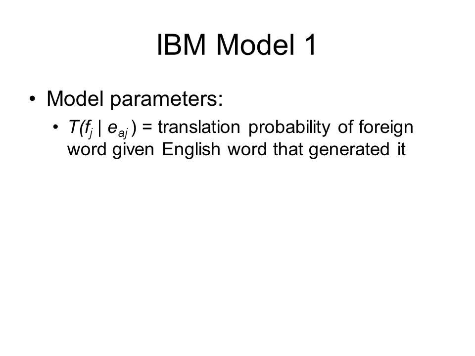 IBM Model 1 Model parameters: