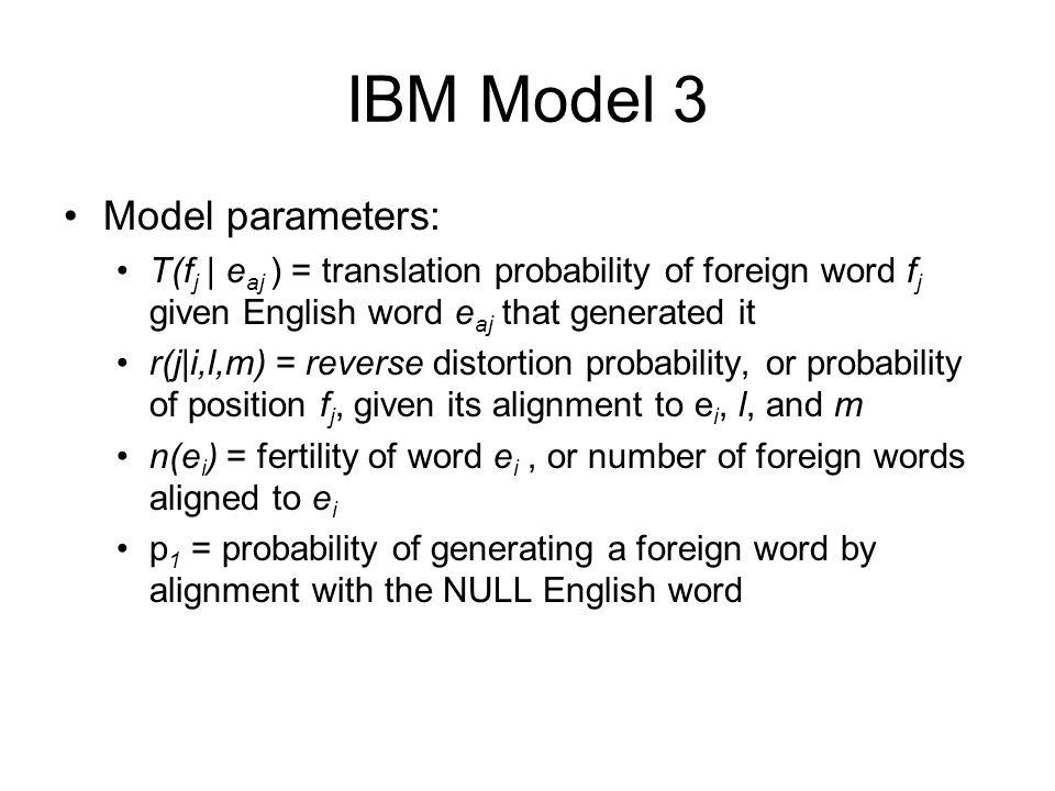 IBM Model 3 Model parameters: