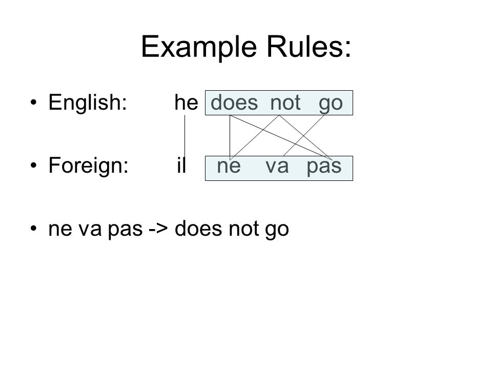 Example Rules: English: he does not go Foreign: il ne va pas