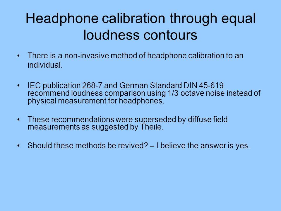 Headphone calibration through equal loudness contours